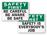 All Safety First Signs
