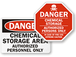 Chemical Area Authorized Personnel Only Signs