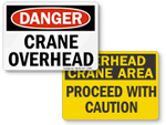 Crane Overhead Danger Signs for Construction Sites