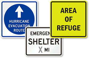 Earthquake safety sign holders