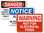 Electrical Fire Signs