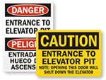 Elevator Pit Signs