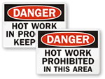 Hot Warning Sign & Do Not Touch Label