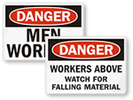 Men Working Above or Below Signs