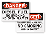 No Smoking Flammable Signs & Labels