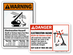 Crane Electrocution Hazard Signs