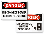 Disconnect Before Servicing Signs