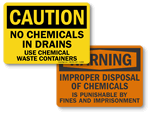 Do Not Dispose Chemicals Down Drain Signs