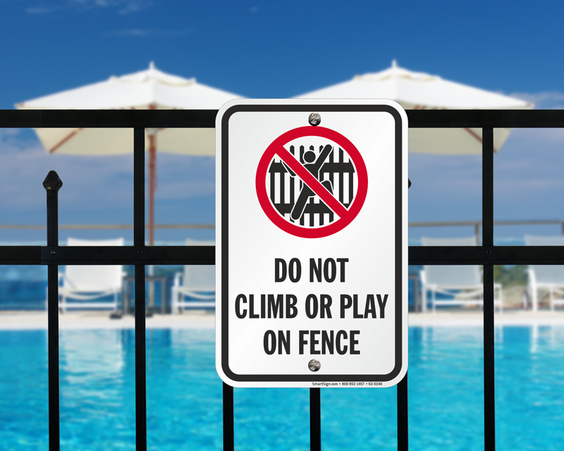Do not climb fence sign