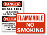 Flammable No Smoking Labels & Signs