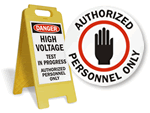Authorized Personnel Floor Stand Signs