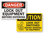 Lockout Before Use Signs