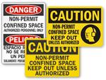 Non-Permit Confined Space Signs