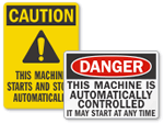 Automatic Start Hazard Signs