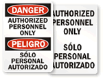 Bilingual Authorized Personnel Only Signs