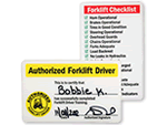 Forklift inspection signs mysafetysigncom for Aerial lift certification card template