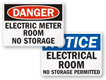 Electrical Room Warning Signs