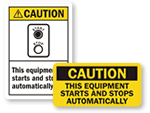 Equipment Starts Automatically Labels