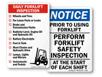 Forklift Inspection Signs
