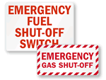 Fuel Shut-Off Signs & Labels