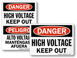 High Voltage Inside Keep Out Signs