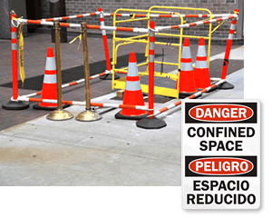 Bilingual Confined Space Signs