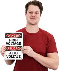 Bilingual High Voltage Signs