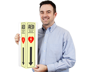 First aid aed glow sign