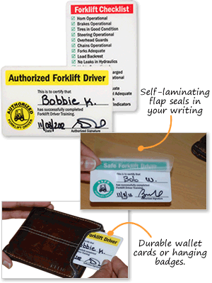 Forklift Certification Cards