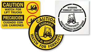 Bilingual Forklifts Signs