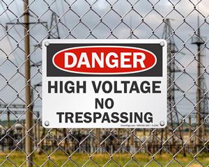 High Voltage No Trespassing Sign
