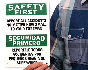 Report Accidents Sign