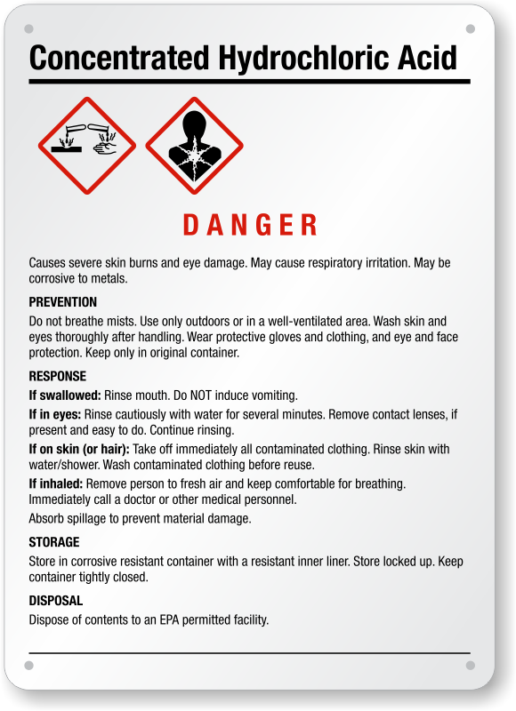 Hydrochloric Acid Signs | Flammable Chemicals