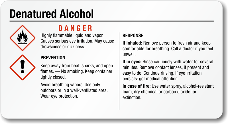 Denatured alcohol ghs labels for Denatured alcohol for fireplace