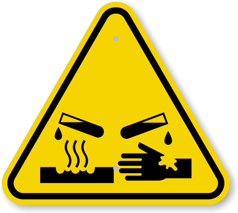 Image result for CORROSIVE WARNING SIGN