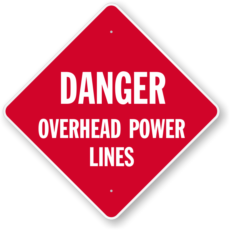 Overhead Power Line Signs Danger High Voltage