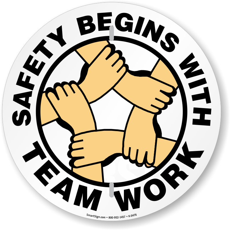 Safety Begins With Team Work Circular Slogan Sign, SKU: K ...