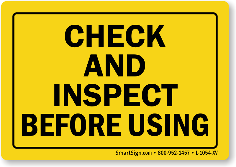 Fork Lift Labels : Check inspect before using label laminated vinyl labels