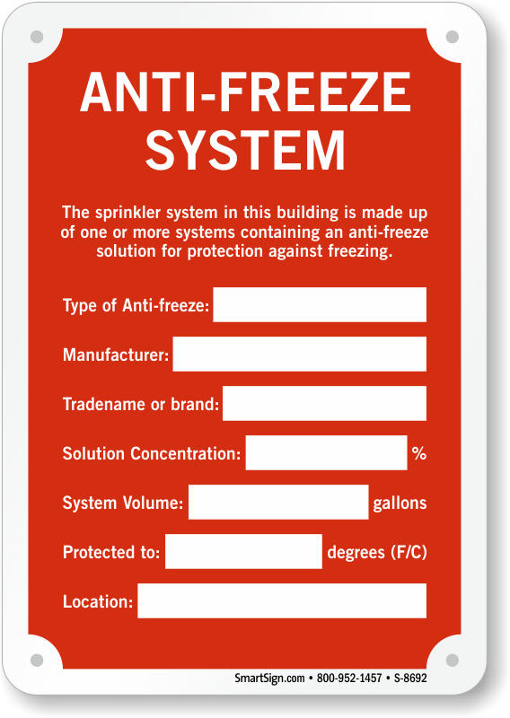 Anti freeze system sprinkler identification sign sku s