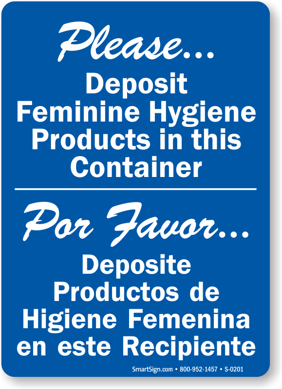 Bilingual Deposit Feminine Hygiene Products Sign Sku S 0201