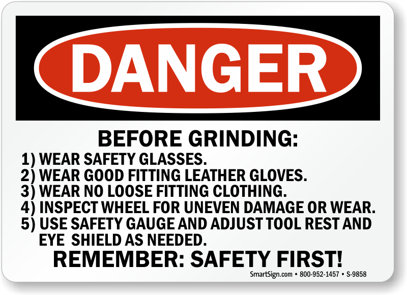 Grinder Safety Signs Wear Face Shield Eye Protection