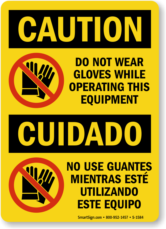 Glove department in spanish