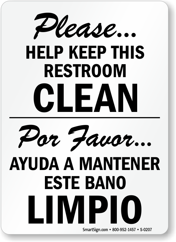 Bilingual Keep This Restroom Clean Free PDF Signs SKU S 0207