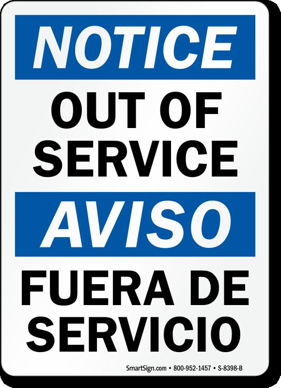 Out Of Service / Fuera De Servicio Bilingual Sign Online, SKU: S-8398 ...