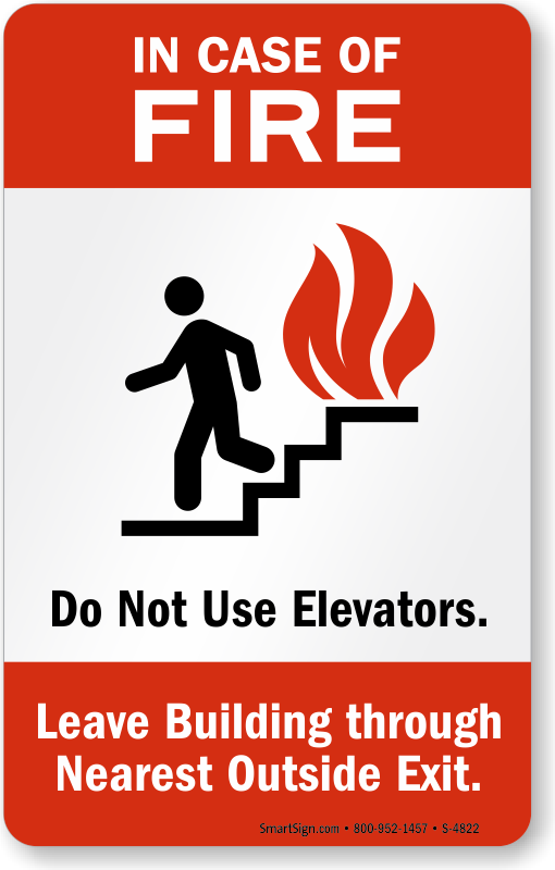 In Case Of Fire Signs Do Not Use Elevators