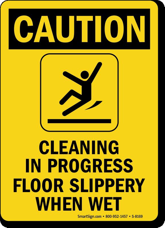 Cleaning In Progress Floor Slippery When Wet Sign Sku S