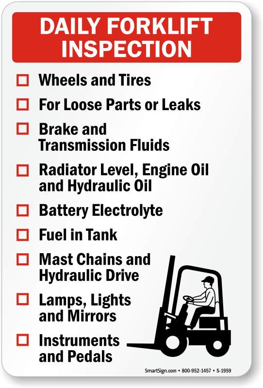 Forklift Inspection Signs Mysafetysign Com