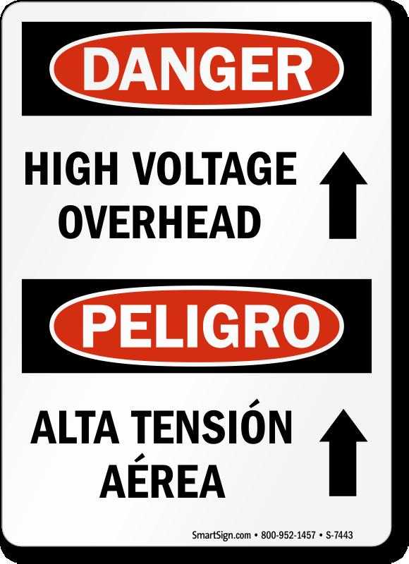 Overhead Power Line Signs Danger High Voltage