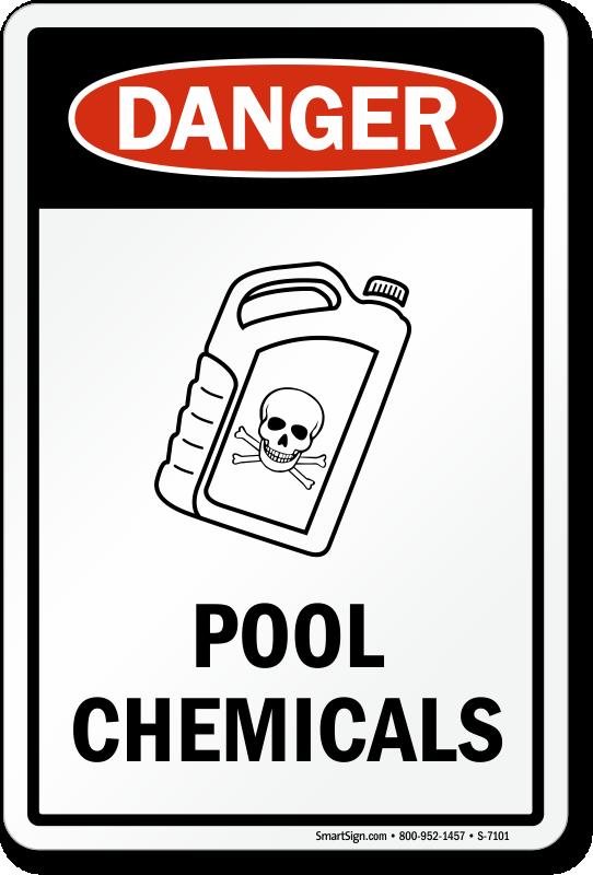 Chlorine hazard pool signs for Dangers of chlorine in swimming pools