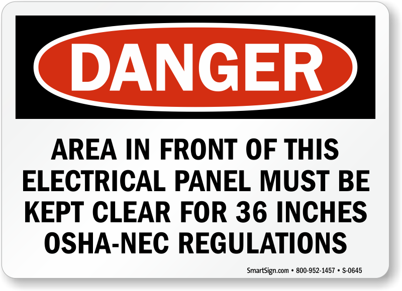 Electrical Panel Osha Danger Safety Sign Online Sku S